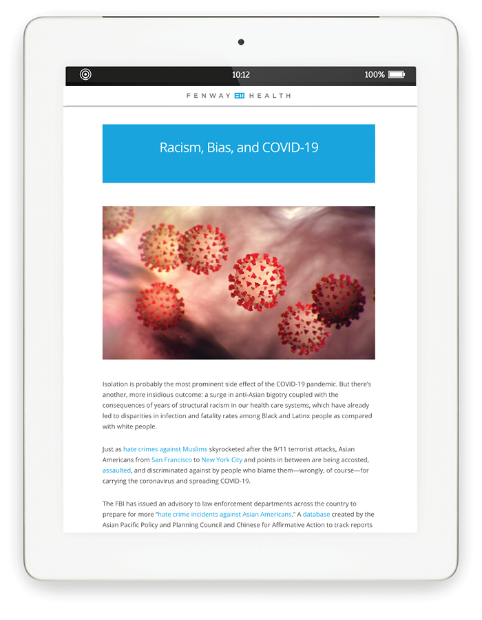 Blog page on tablet: Racism, Bias, and COVID-19
