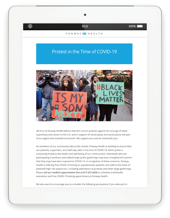 """Blog page on tablet: Protest in the time of COVID-19 with image of people protesting with signs saying """"Is my son next?"""" and """"#Black Lives Matter"""""""
