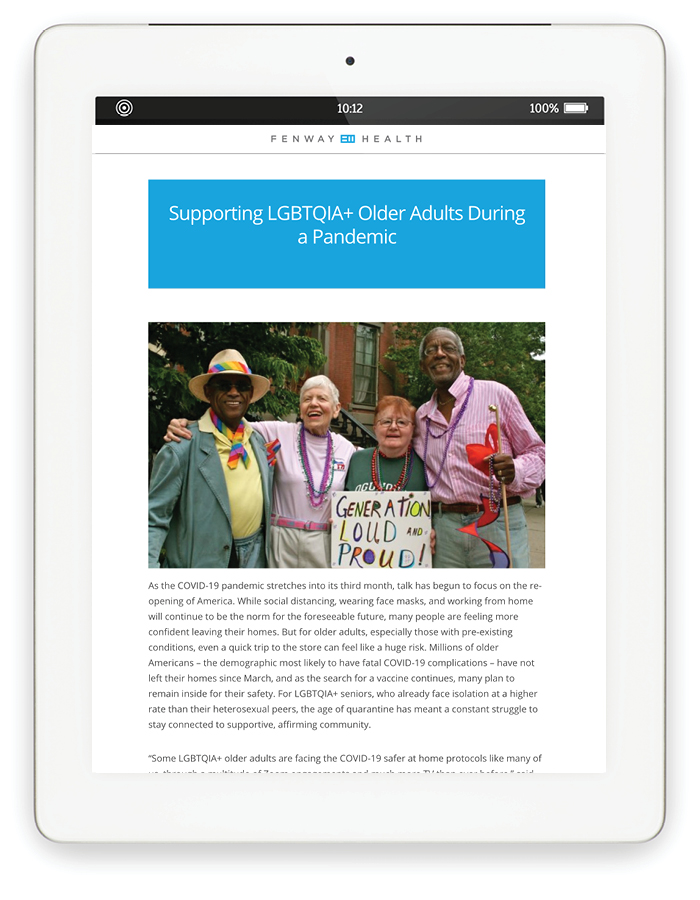 Blog page on tablet: Supporting LGBTQIA+ Older Adults During a Pandemic with Photo of a few older adults dressed up and smiling